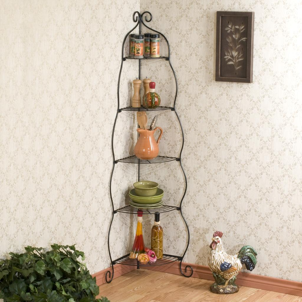 Scrolled black corner etagere corner shelves for Dining room etagere
