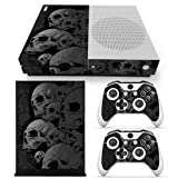 SKINOWN Skin Sticker for Microsoft Xbox One S Slim Console and Two Controllers (Grey Skull) (Color: P1)