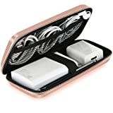Shockproof Carring Case, iMangoo Hard Protective EVA Case Impact Resistant Travel Power Bank Pouch Bag USB Cable Organizer Sleeve Pocket Accessory Earphone Pouch Smooth Coating Zipper Wallet Rose Gold (Color: Rose Gold)