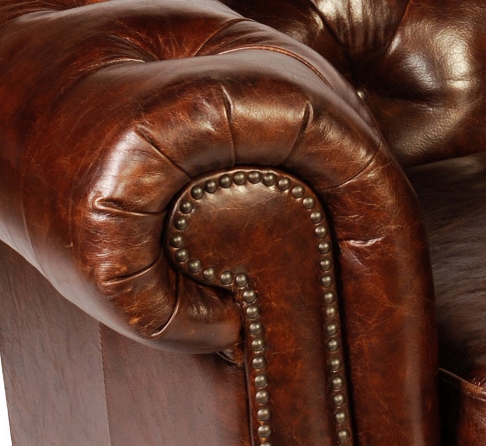 Leather Chesterfield Sofa in Antiqued Vintage Leather by Lazzaro 5503 Senator Collection 3