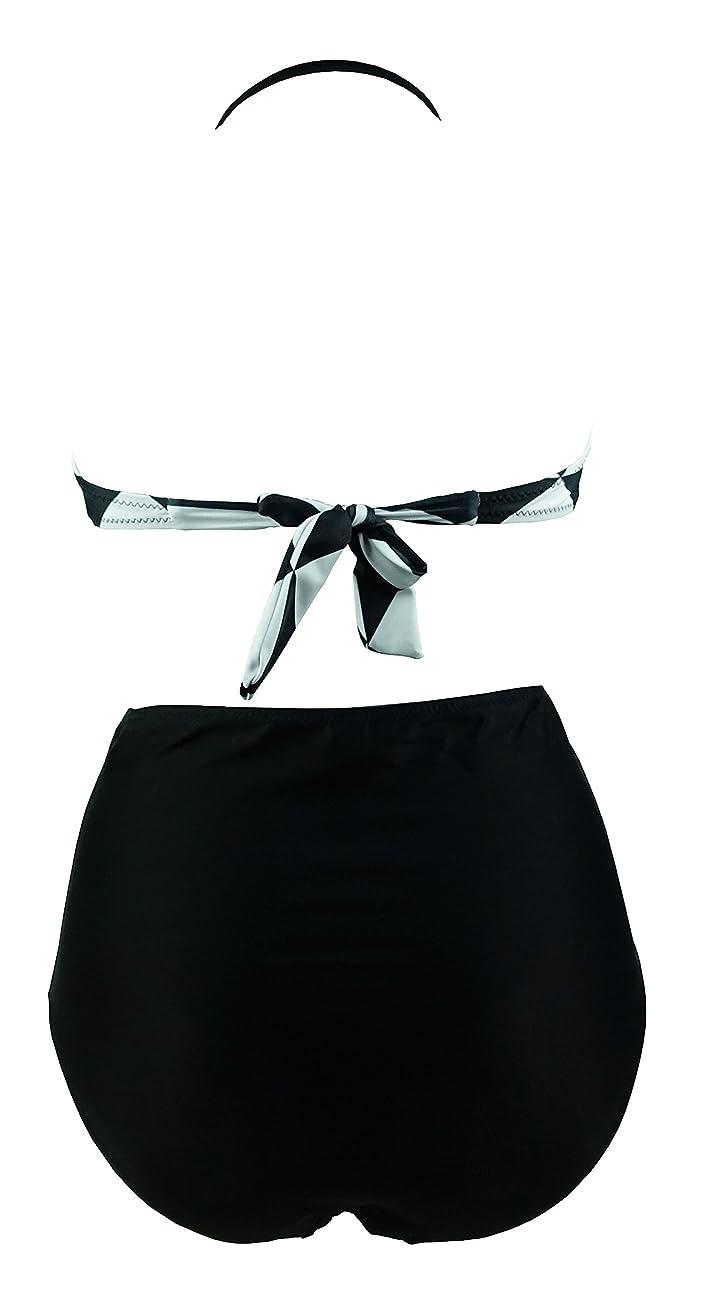 Cocoship Retro Black White Geometric Patterns High Waist Bikini Tassel Swimsuit(FBA) 2