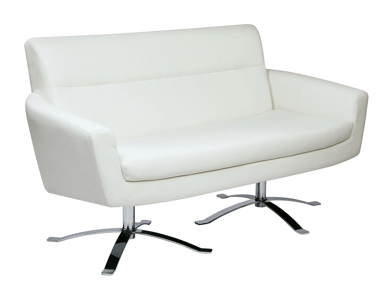 Ave Six Nova Faux Leather Loveseat -  White