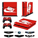 Skins for PS4 Controller - Decals for Playstation 4 Games - Stickers Cover for PS4 Console Sony Playstation Four Accessories PS4 Faceplate with Dualshock 5 Two Controllers Skin -Red & White (Color: Red, White)