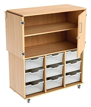 ColourBox Combination Deep Tray and Shelf Unit - Beech/Jet Black