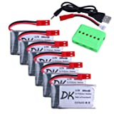 Digital-kingdom 6 pcs 3.7v 800mAh 25c Upgrade Lipo Drone Battery JST Plug with X6 Charger for MJX X400 X400W X800 X300C Sky Viper S670 V950hd V950str HS200W National Geographic Quadcopter Drone