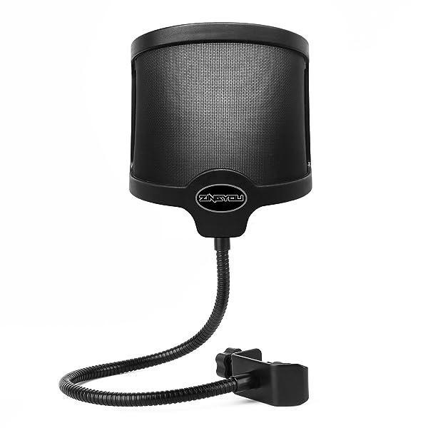 ZINGYOU PF-101 Microphone Pop Filter, Studio Recording Pop Shield, Mic Windscreen with Dual Screen, Metal and Nylon Mesh (Color: Black, Tamaño: U-Shape)