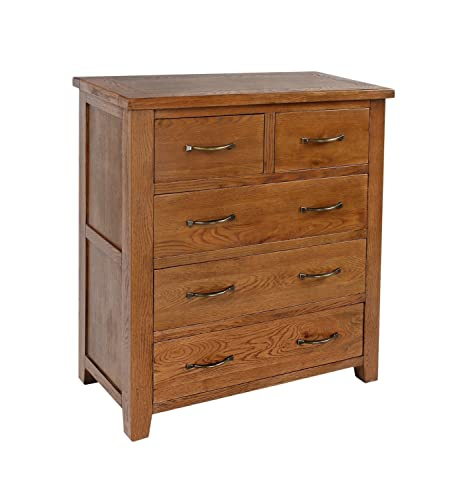 Sherwood Oak 2 over 3 Chest of Drawers Solid Oak Fully Assembled