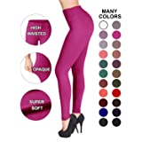SATINA High Waisted Leggings – 22 Colors – Super Soft Full Length Opaque Slim (Plus Size, Fuchsia)