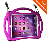 New iPad 2017/2018 9.7 inch Case/iPad Air Case, TopEsct Shockproof Silicone Handle Stand Case Cover&(Tempered Glass Screen Protector) for Apple iPad 9.7inch(2017/2018 Edition) and iPad Air (Purple) (Color: Purple)