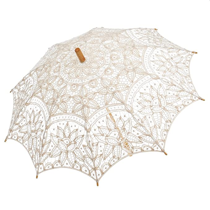 Vintage Style Parasols and Umbrellas  Lace Umbrella Wedding Parasol Embroidery Victorian Costume Accessory                               $22.89 AT vintagedancer.com