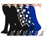 Go2Socks Compression Socks (6 Pairs) for Men Women Nurses Runners 16-22 mmHg (Medium) - Medical Stocking Maternity Travel - Best Performance Recovery Circulation Stamina - (Mens, Small 6Pk) (Color: 6Pk- (2)Black, Black Argyle,Blue Argyle,Blue,White, Tamaño: Small)