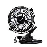 Keynice USB Clip Desk Personal Fan, Table Fans,Clip on Fan,2 in 1 Applications, Strong Wind, 2 in 1 Applications, Strong Wind, 4 Inch 2 Speed Portable Cooling Fan USB Powered by Netbook, PC (Color: 835-BK, Tamaño: Clip table fan)