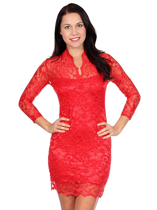 Simplicity floral lace mini dress w/ v neck and 3/4 sleeves
