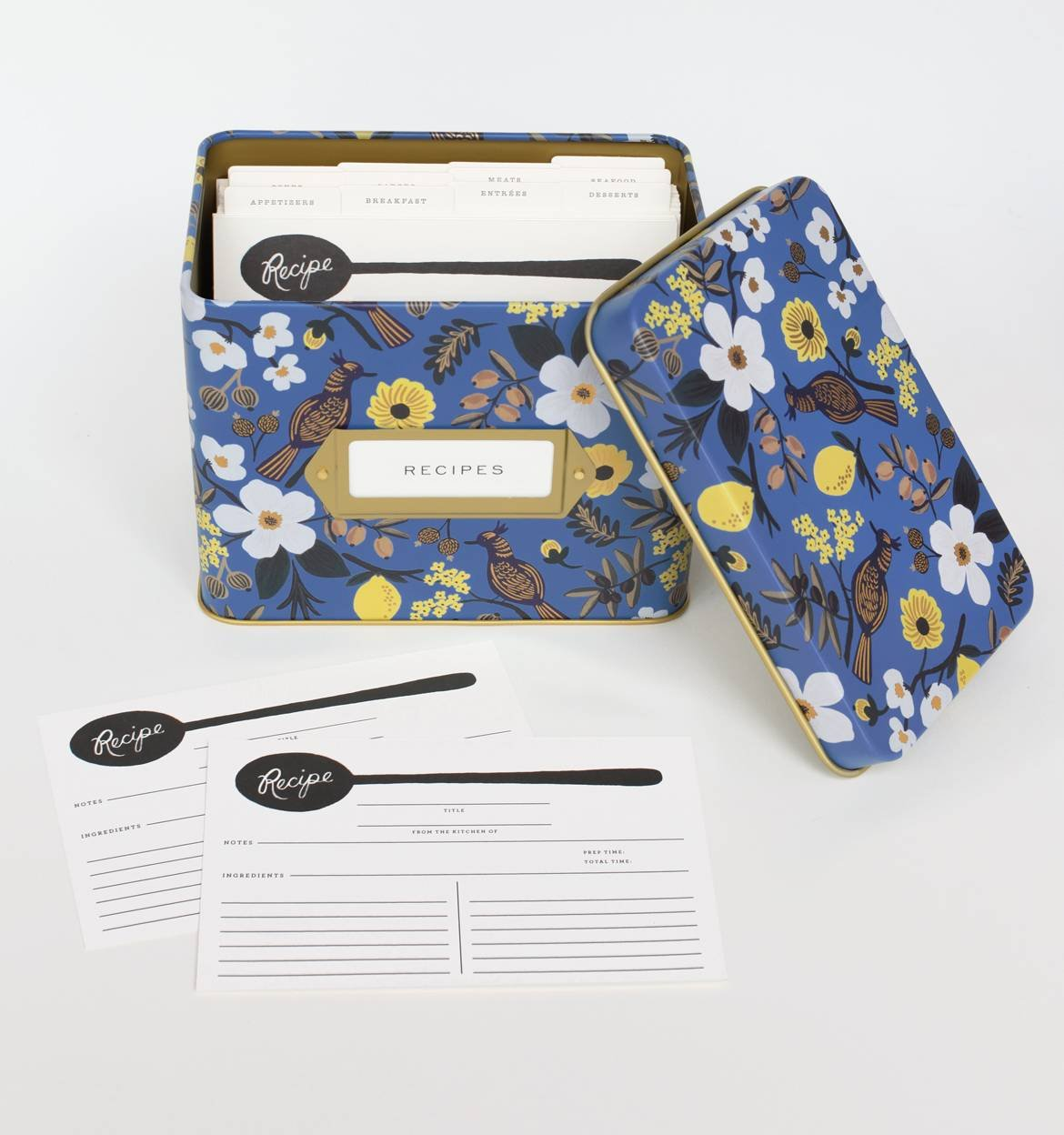 Rifle Paper Co. Capri Blue Recipe File Box With 12 Dividers and 24 Recipe Cards 1