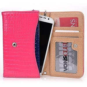 Exxist Classy Women's Wristlet Phone Accessory Wallet Purse Clutch Fits Samsung Galaxy S5 | Galaxy S7 | Galaxy Trend Plus | Galaxy A5