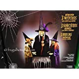 Animated halloween decor 3 witches with light and sound (Color: Multi)