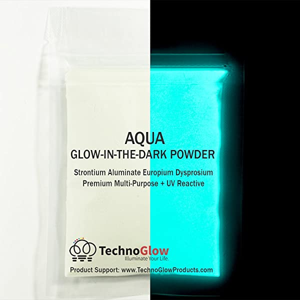 Glow in The Dark & UV Reactive Powder - Multipurpose PRO-Series (Natural Aqua, 8 Ounces (227g)) (Color: Natural Aqua, Tamaño: 8 Ounces (227g))