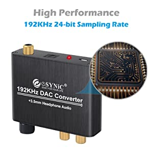 192kHz DAC Converter ESYNIC Digital to Analog Converter Volume Control Digital Optical Coaxial Toslink to Analog Stereo L/R RCA 3.5mm Audio Adapter for Xbox DVD Blu-ray PS3 PS4 AV Amps Cinema Systems (Color: Volume Control DAC Converter with US Plug)