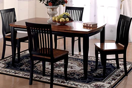 NEw Earlham I Wood Two-Tone Dining Table Set Chairs in Antique Black and Oak Finish