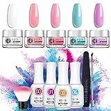 Dipping Powder Nail Starter Kit 5 Colors 0.83oz Dip Powder Easy Dip powder kit Nail Dipping Powder French Nail Manicure Nail art set No UV/LED (Color: DP1)