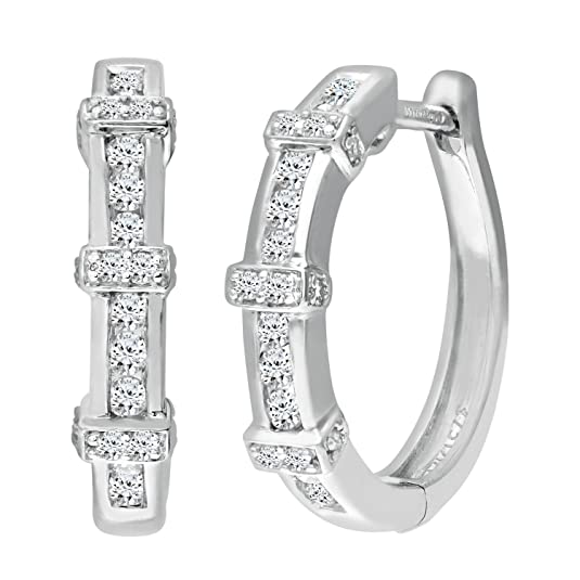 Naava 9 ct White Gold Women's Diamond Earrings