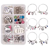 SUNNYCLUE 1 Box DIY 6PCS Expandable Wire Charm Bracelet Jewelry Making Starter Kit Include 2.6inch(65mm) Blank Adjustable Bangle, Mixed Charm Pendant Beads Jewelry Findings for Women Girls Adults (Color: Bangle)