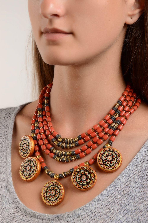 Handmade Keramik Schmuck Damen Collier Halskette Damen Ethno Schmuck breit jetzt bestellen