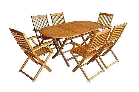 MCombo 7tlg Gartenset Balkonset Gartentisch Tisch Stuhl Akazienholz FSC zertifiziert klappbar