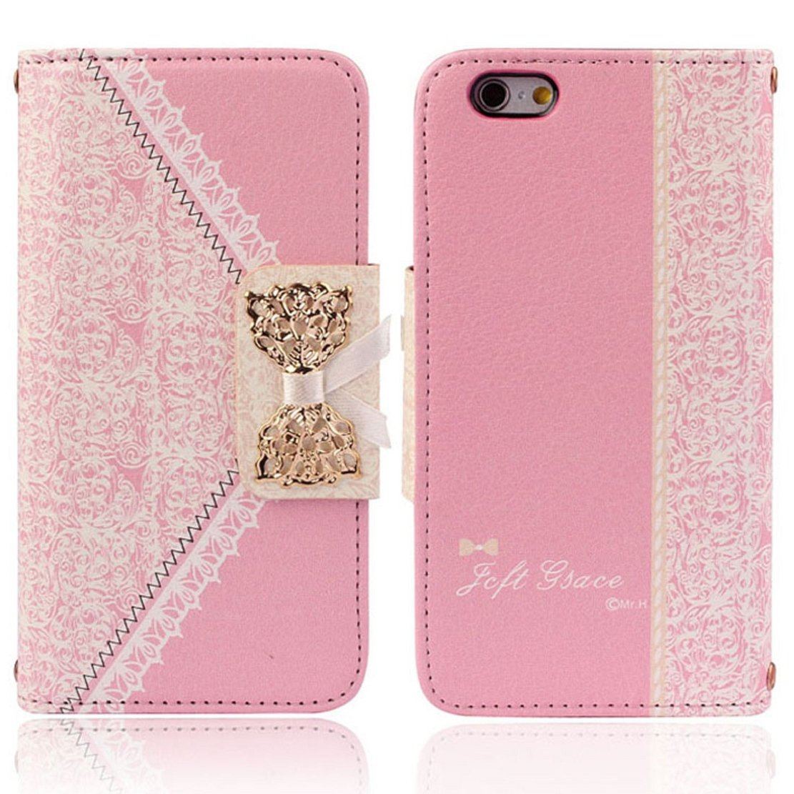 Fashion Pink Fresh Cute Flip Wallet Leather Case Cover for iPhone 6 4.7''