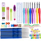 64 Pieces 16sizes Crochet Hook Set Needles Stitches knitting Craft Case crochet set Yoker Weave Yarn Set (Color: 64 Pieces 16sizes Crochet Hook Set)