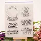 Seaskyer Halloween Christmas Theme Clear Stamps for DIY Scrapbooking Album Paper Card Making,Scrapbook Embossing Album Decor Craft (Christmas Tree and Deer)