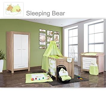 Babyzimmer Enni 21-tlg. in der Farbe Sonoma / Weiß mit 2 turigem Kl. + Textilien Sleeping Bear, Grun