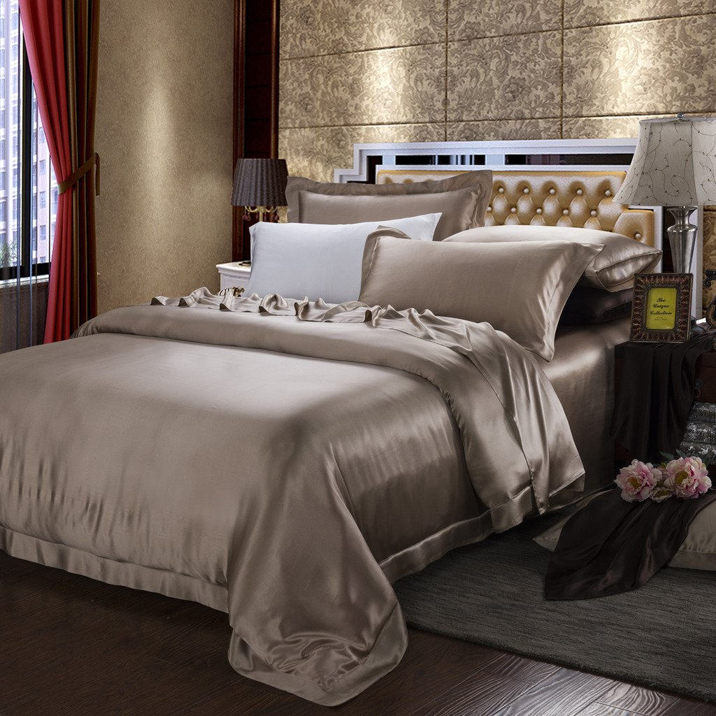Orifashion Limited Edition 7-Piece 100% Silk Elegant Light Brown Solid Color Bedding Set, California King Size