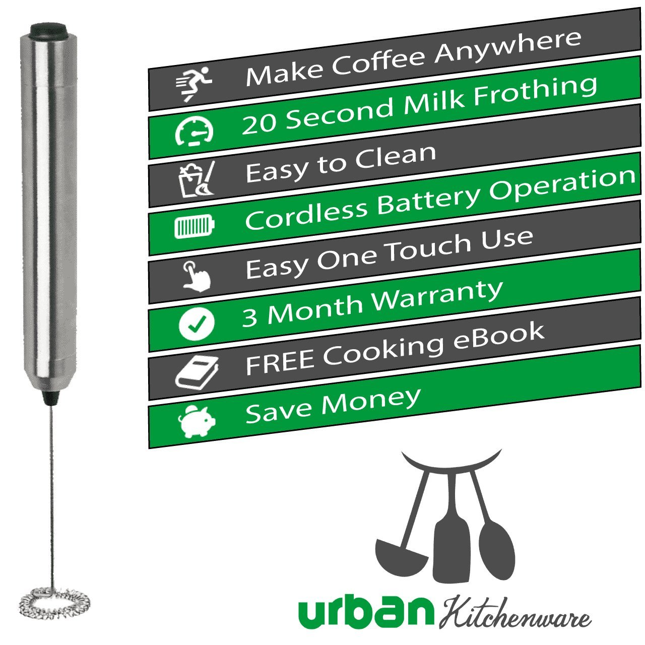 Electric Milk Frother - Premium One Touch Handheld Stainless Steel Home Coffee Frother - Designer Milk Foam Maker and Drink Mixer - Hassle Free Easy to Use and Clean Wand Mixer