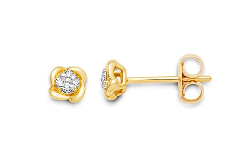 Miore women's 9ct Yellow Gold Small Diamond Stud Earrings MG9159E