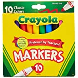 Crayola 758114552570 Broad Line Markers, Classic Colors 10 Each (Pack of 24), Case of 24, Count (Color: no, Tamaño: Case of 24)