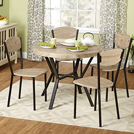 Piazza Natural with Black Contemporary 5-piece Dining Set 4 Chairs and Table