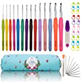Looen Extra Long Ergonomic Crochet Hook Set with Case Rubber Soft-Touch Handle Grip Knitting Needles Hooks for Arthritic Hands-Good for Crocheting Project (Set 1 of 14) (Color: set 1 of 14)