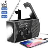 2020 Upgraded Emergency Solar Hand Crank Portable Radio,AM/FM NOAA Weather Radio for Household and Outdoor Survival with LED Flashlight, 2000mAh Power Bank USB Charger, Reading Lamp,SOS Alarm(Gray) (Color: Space Gray)