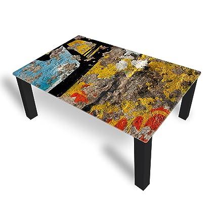 Couchtisch von DekoGlas Abstraktion Mehrfarbig 45cm hoch – Tisch mit Glasplatte 112x67cm Beistelltisch Glastisch Kaffeetisch Teetisch Wohnzimmertisch