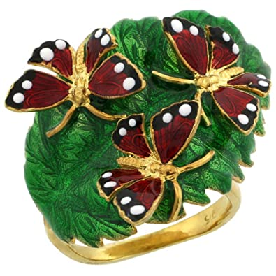 Revoni Sterling Silver Multi Color Enamel Triple Butterfly Ring, 7/8 in. (23mm) wide