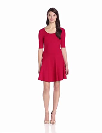 Eliza J Women's Fit and Flare Skater Dress, Red, 8