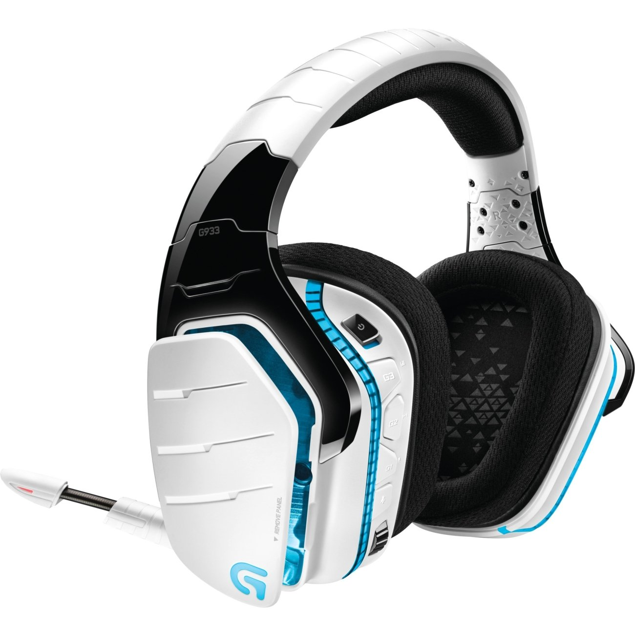 로지텍 G933 무선 헤드폰, 아르테미스 스펙트럼 Logitech G933 Artemis Spectrum, Wireless RGB 7.1 Dolby and DTS Headphone Surround Sound Gaming Headset, White