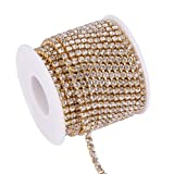 BENECREAT 10 Yard 3.5mm Crystal Rhinestone Close Chain Clear Trimming Claw Chain Sewing Craft About 2100pcs Rhinestones - Crystal (Gold Bottom) (Color: Crystal (Gold Bottom), Tamaño: 3.5mm)