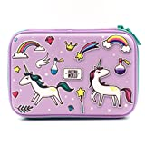 Purple Rainbow Unicorns Girls Big Hardtop Pencil Case with Compartment - Cute School Stationery Supply Organizer Box Pen Holder for Kids Children Toddlers (Color: Purple)