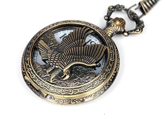 Men's Vintage Brass Hollow Eagle Half Hunter Quartz Movement Pocket Watch | Gift Chain