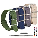 4 Pack Nylon Watch Bands,OWNITOW Ballistic NATO Watch Straps - Choices of Colors & Widths 16mm 18mm 20mm 22mm 24mm (Color: Army Green/Navy/Grey/Khaki, Tamaño: 20mm)