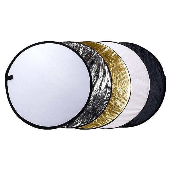 ETEKCITY 24 (60CM) 5-EN-1 REFLECTOR PLEGABLE portátil de fotografía de múltiples discos para estudio/iluminación exterior con bolsa - Translucent, Silve