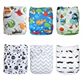 ALVABABY Cloth Diapers Pocket Washable Adjustable Reusable 6pcs with 12 Inserts 6DM08 (Color: Multi, Tamaño: All in one)
