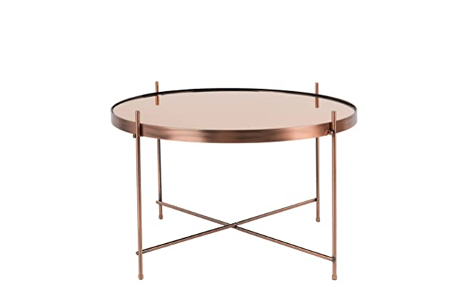 Zuiver Cupid - Tavolino basso in vetro, Rame, Large,  62,5 x 62,5 x 40 cm